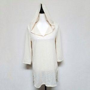 Calypso St. Barth Cream Sequin Bead Dress Cover Up
